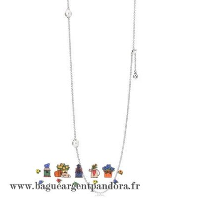 Artisanaux Pandora Pandora Chaines Avec Pendentif Lumineux Dainty Droplets Collier Blanc Crystal Pearl